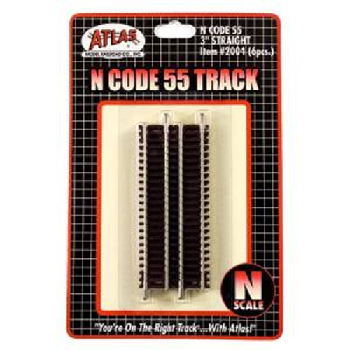 Atlas Trains 2004 HO Scale N Code 55 3'' Straight/6pk