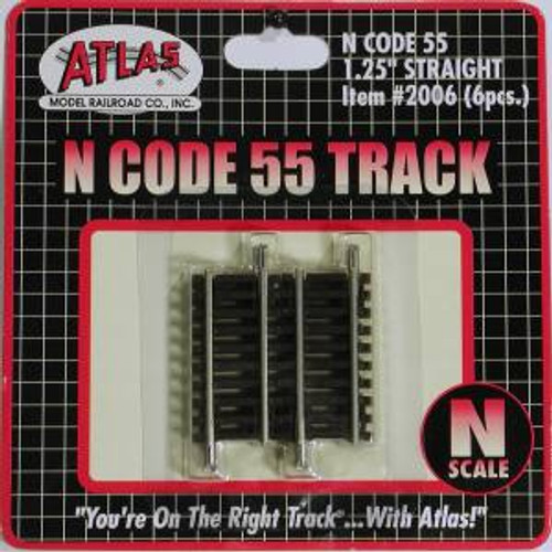 Atlas Trains 2006 HO Scale N Code 55 1.25'' Straight/6pk