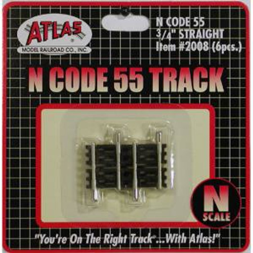 Atlas Trains 2008 HO Scale N Code 55 .75'' Straight/6pk