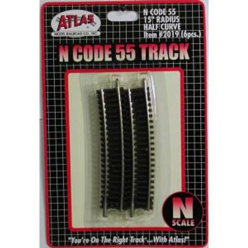 Atlas Trains 2019 N Scale N Code 55 15'' R Half Curve/6pk