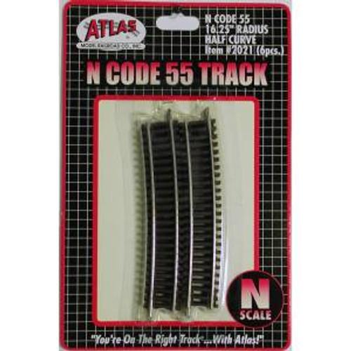 Atlas Trains 2021 N Scale N Code 55 16.25'' R Half Curve/6pk