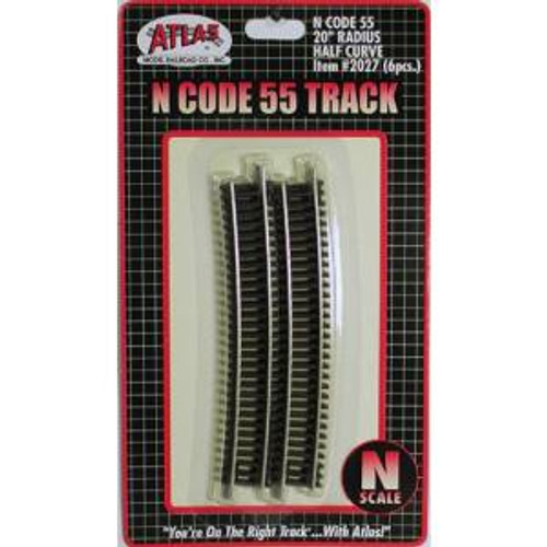 Atlas Trains 2027 HO Scale N Code 55 20'' R Half Curve/6pk