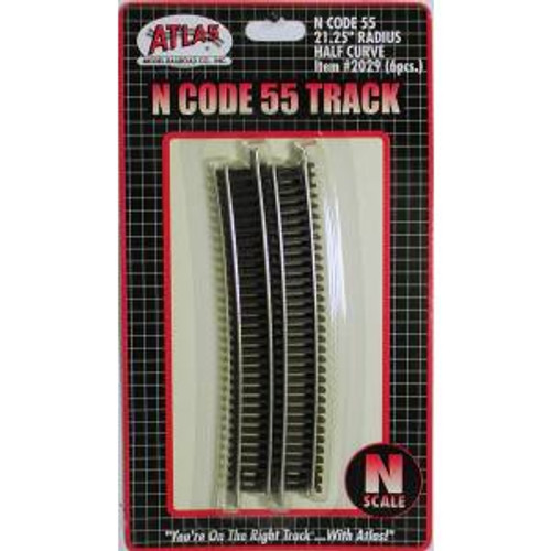 Atlas Trains 2029 HO Scale N Code 55 21.25'' R Half Curve/6pk