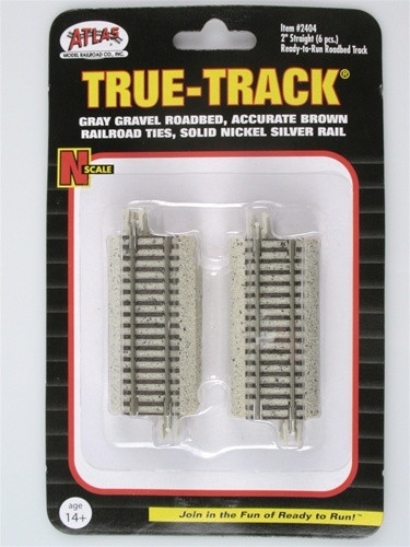 Atlas Trains 2404 Scale N Code 65 True-Track 2 Straight/6 pk