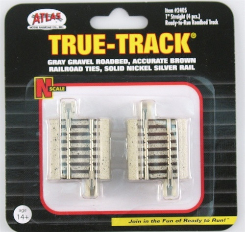 Atlas Trains 2405 Scale N Code 65 True-Track 1Straight/4pk