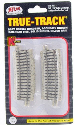 Atlas Trains 2413 N Code 65 True-Track 1/2-12.5 Radius/8pk