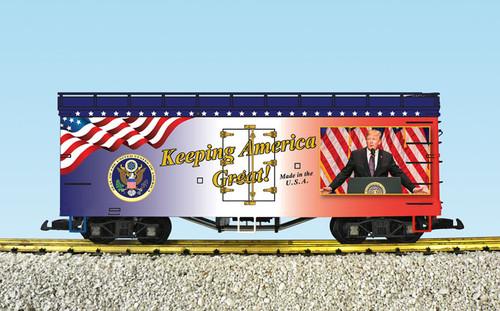 USA Trains R16037 Keeping America Great Patriotic Refrigerator Cars G Gauge