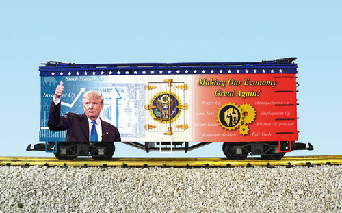 USA Trains R16031 Making Our Economy Great Again Patriotic Refrigerator Cars G Gauge American Series