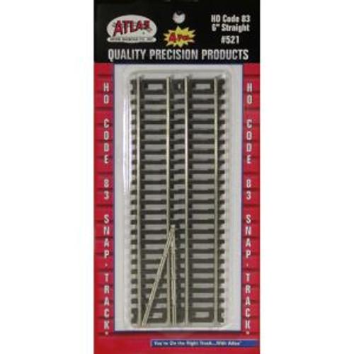 Atlas Trains 521 HO Scale HO Code 83 6 Straight/4pc