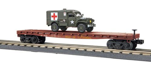 MTH 30-76742  RailKing Union Pacific Flat Car w/(1) Dodge WC54 Ambulance O Gauge