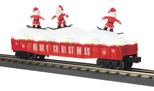 MTH O Gauge RailKing 30-72194 Gondola Car w/LED Christmas Lights & Skiing Santas