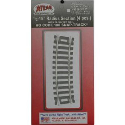 Atlas Trains 832 HO Code 100 1/2-15 Radius/4pk