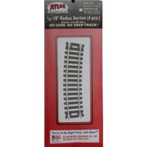 Atlas Trains 834 HO Code 100 1/2-18 Radius/4pk