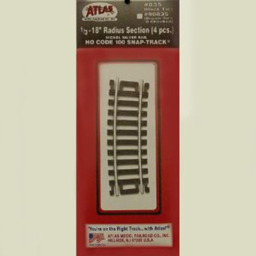 Atlas Trains 835 HO Code 100 1/3-18 Radius/4pk