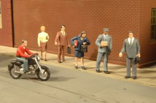 Bachmann Trains 33101 HO Scale City People w/Motorcycle/6pc