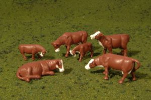 Bachmann Trains 33102 HO Scale Cows/brown & white /6pc