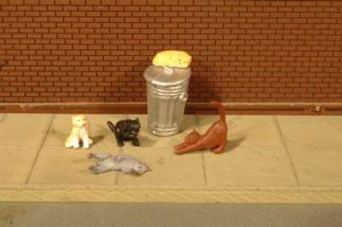 Bachmann Trains 33107 HO Scale Cats w/Garbage Can/6pc