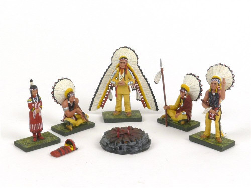 Figarti JU5101 Council Fire And 4 Chiefs Sioux Plains 1876 Toy Soldiers