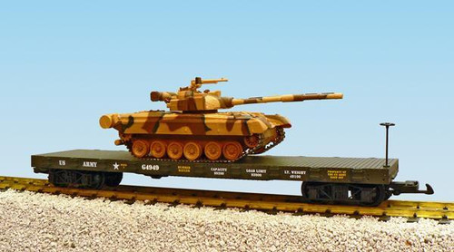 USA Trains R1769 US Army Flat Car with T80 Tank Load G Gauge G0172