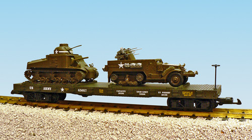 USA G Scale Trains R1780 US Army Series Flatcar with M3 Lee & M16 Load