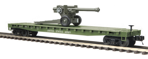 MTH RailKing 30-76771 US Army Flat Car With 105mm Howitzer O Gauge Trains