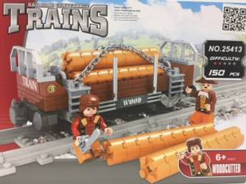 Ausini 25413 Building Block Flat Car w/Logs 150p