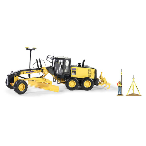 First Gear Diecast Collectible Komatsu GD655-5 Motor Grader Wih Ripper And Figure With GPS Base And Rover 1/50 Scale