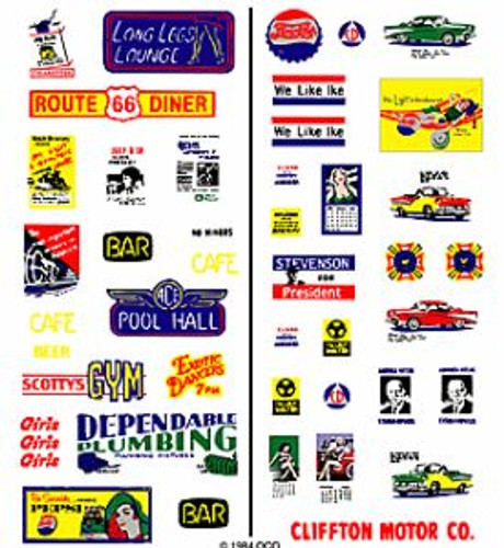 Woodland Scenics 562 1950's Signs & Posters