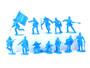 TATS 54mm Civil War Union Artillery Plastic Toy Soldiers Figures Light Blue