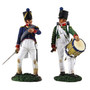 W Britain Napoleonic 36141 French Infantry Command Set French Infantry Drummer No2 & French Line Infantry Officer No2