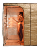 Hot Yoga and Exercise sauna tent in the standing position with the vertical partition used to create a small sauna space.