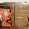 Hot Yoga and Exercise sauna tent seated position with vertical and horizontal partitions in place.