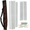 Convertible Radiant sauna tent frame assembly poles, brackets, and connectors with a chocolate brown travel storage bag.