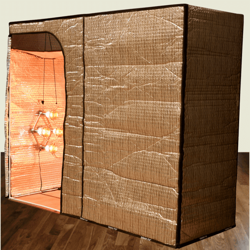 """The new Hot Yoga and Exercise sauna tent, when used with the Sauna Fix NIR sauna lamp (sold separately), helps lose 444% more fat and weight during each workout. The tent features both a vertical and horizontal insert that quickly converts it to an ideally sized """"sit-down"""" near infrared sauna space, perfect for post-workout muscle recovery."""