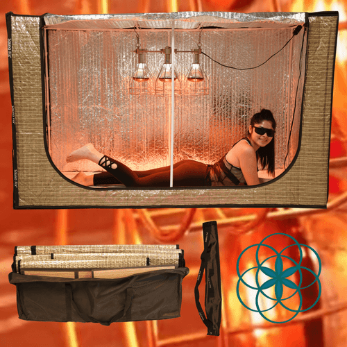 Near Infrared Sauna Fix Lamp, Radiant Tent with Travel bags and bamboo mats.  Bulbs sold separately.
