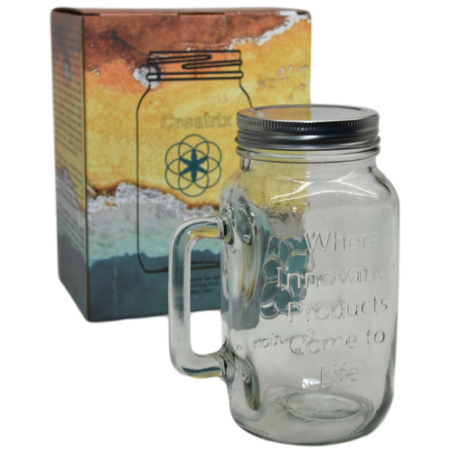 Non-Toxic Mason Jar 32 oz Mug with Lid from Creatrix Solutions