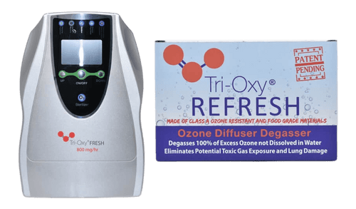 The Tri-Oxy Ozone Grower Bundle consists of  a Tri-Oxy FRESH 800 mg/hr and a Tri-OXY Refresh Ozone Diffuser & Degassing Kit .