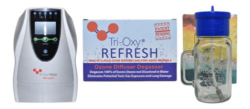 The Ozone Water Sterilizer - Food & Enema Prep Kit consists of  a Tri-Oxy FRESH 800 mg/hr and a Tri-OXY Refresh Ozone Diffuser & Degassing Kit .