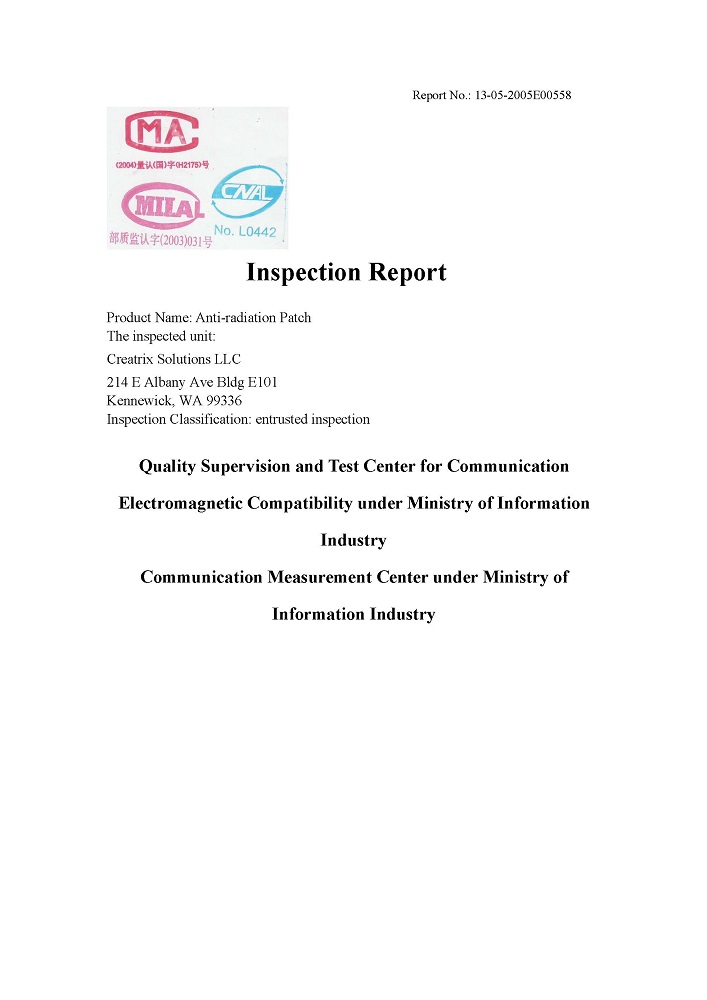 EMF Anti-Radiation Sticker Inspection Report Page 1
