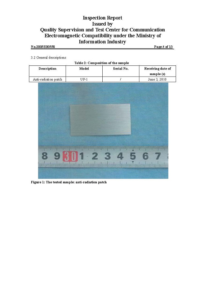 EMF Anti-Radiation Sticker Inspection Report Page 5