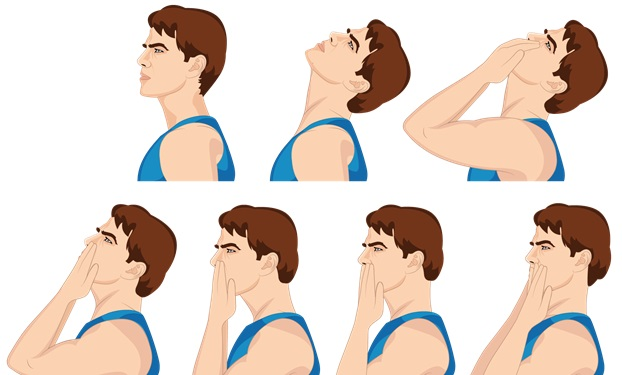 Illustrative Example of the Neck Flexion Exercise with Bare Hands