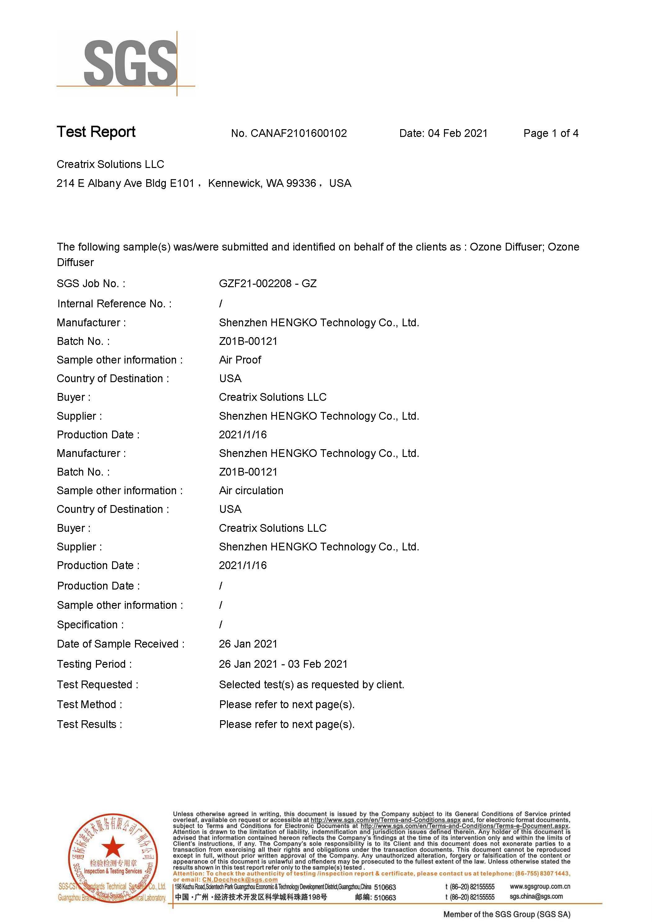 Tri-Oxy Ozone Diffuser Test Report Page 1