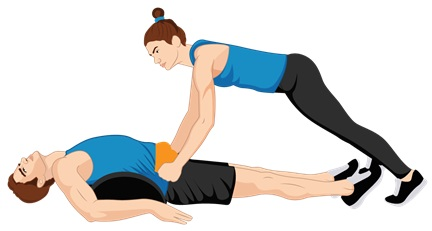 Illustrative Example of the Pelvic Tilt Exercise with the Power Cushion and a Partner