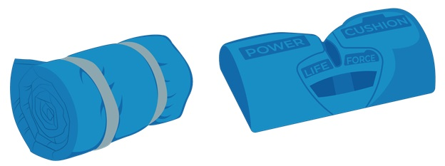 Illustrative Example of Rolled-Up Sleeping Bag and Power Cushion