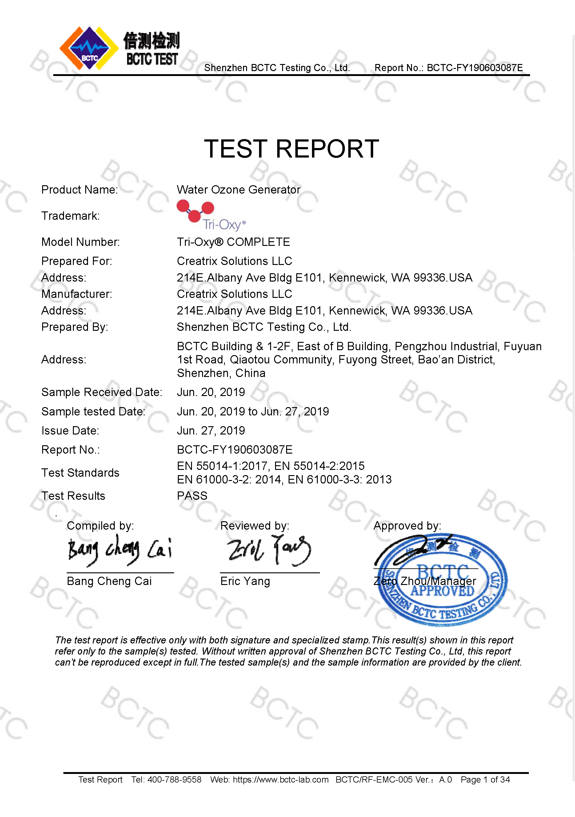 Tri-Oxy COMPLETE EMC Test Report Page 1