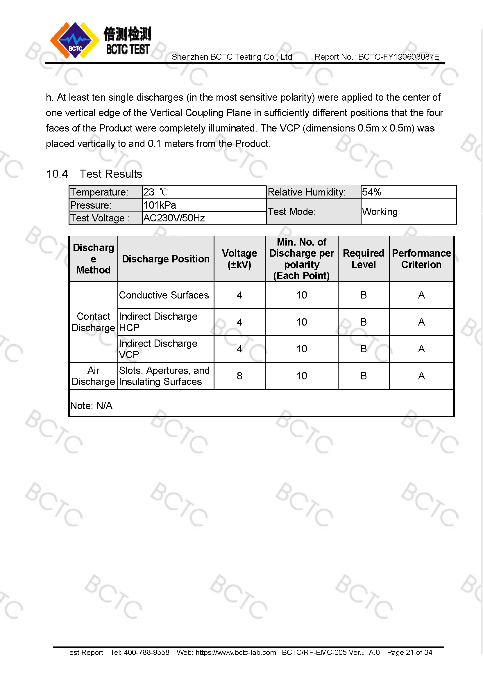 Tri-Oxy COMPLETE EMC Test Report Page 21