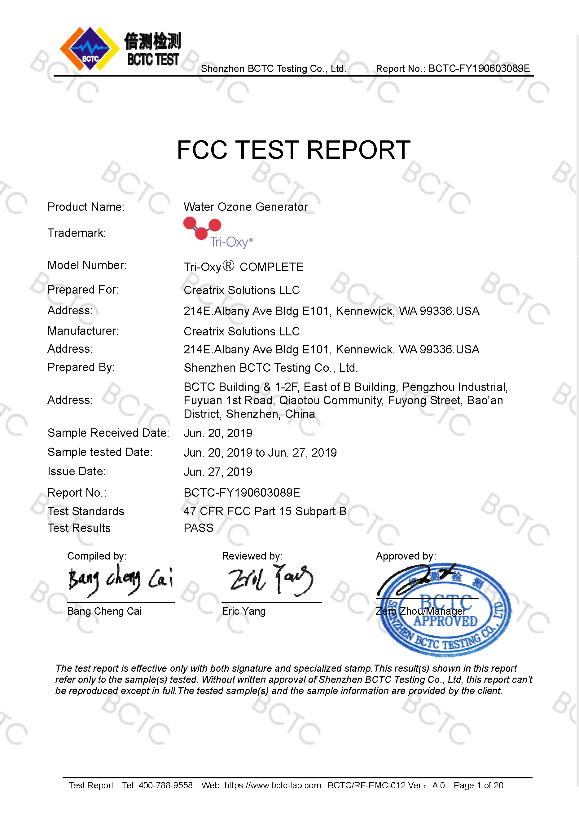 Tri-Oxy COMPLETE FCC Test Report Page 1