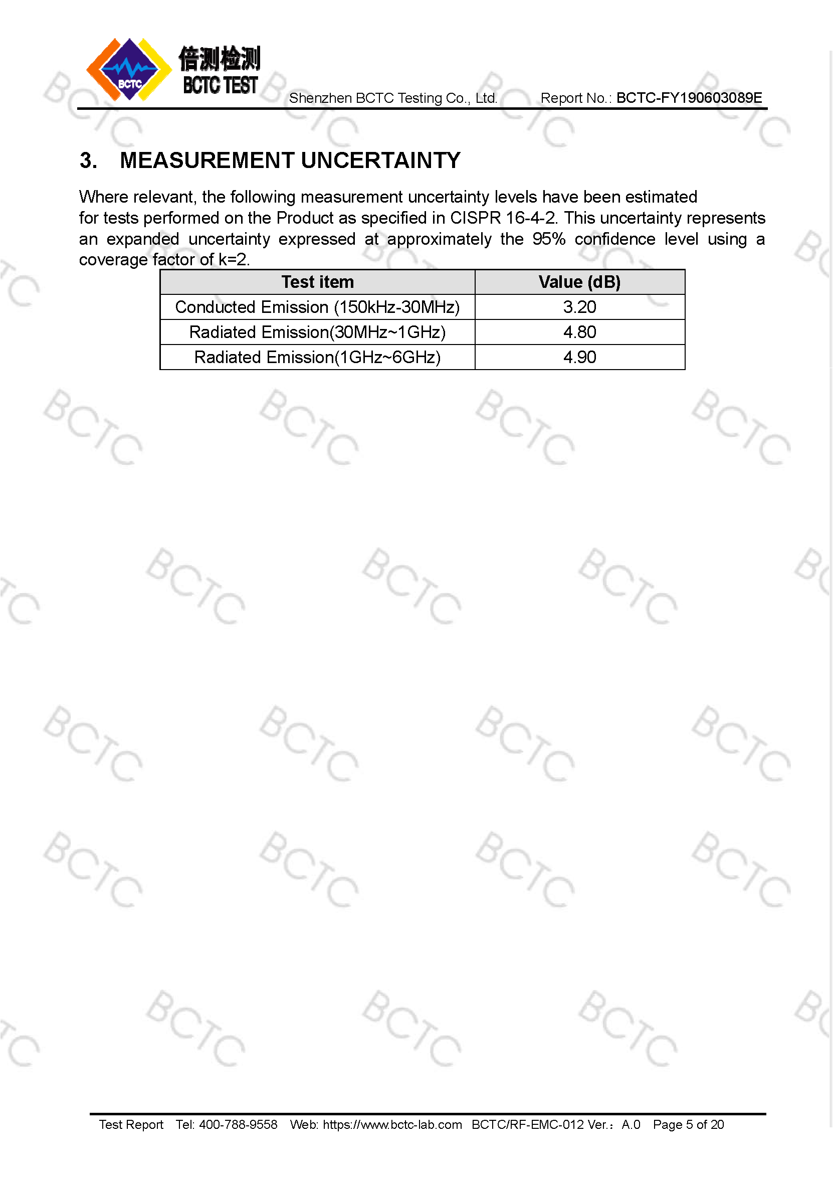 Tri-Oxy COMPLETE FCC Test Report Page 5