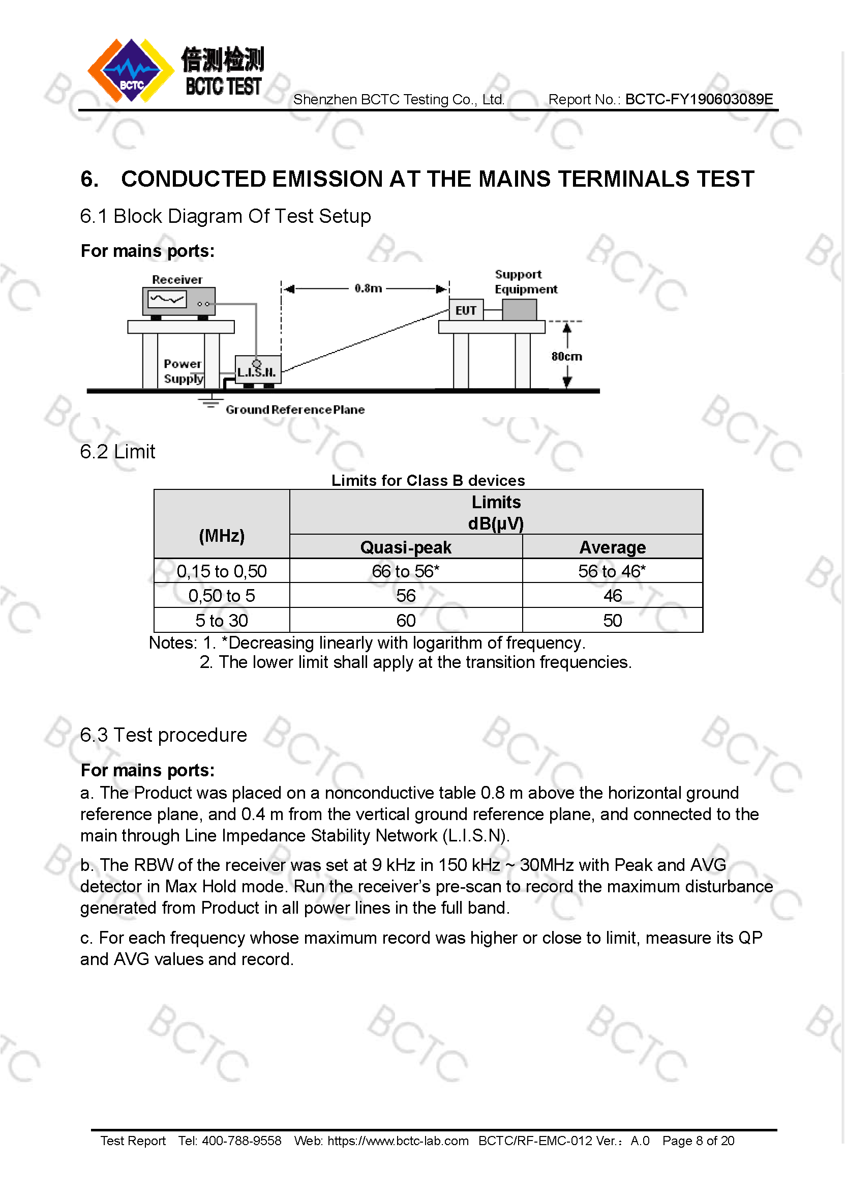 Tri-Oxy COMPLETE FCC Test Report Page 8