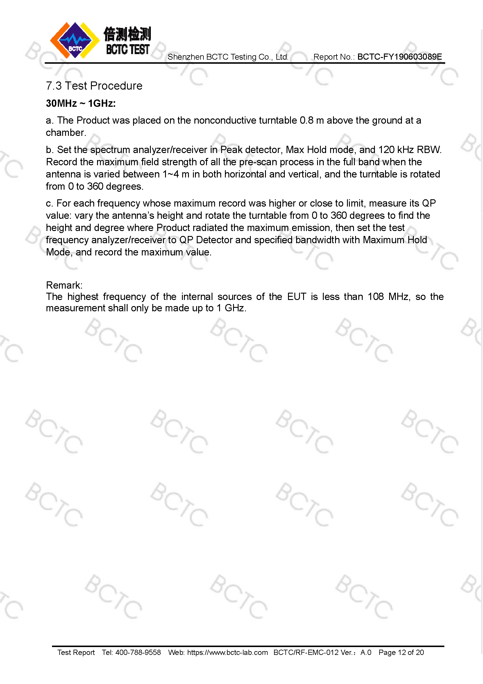 Tri-Oxy COMPLETE FCC Test Report Page 12